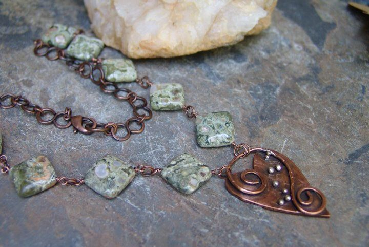 Mixed Metal Heart Necklace Handmade Copper Sterling Green Stone Hand Forged Chain OOAK Artisan Jewelry Gift for Her Made in America USA by SandyRobinsonJewelry on Etsy https://www.etsy.com/listing/538740733/mixed-metal-heart-necklace-handmade