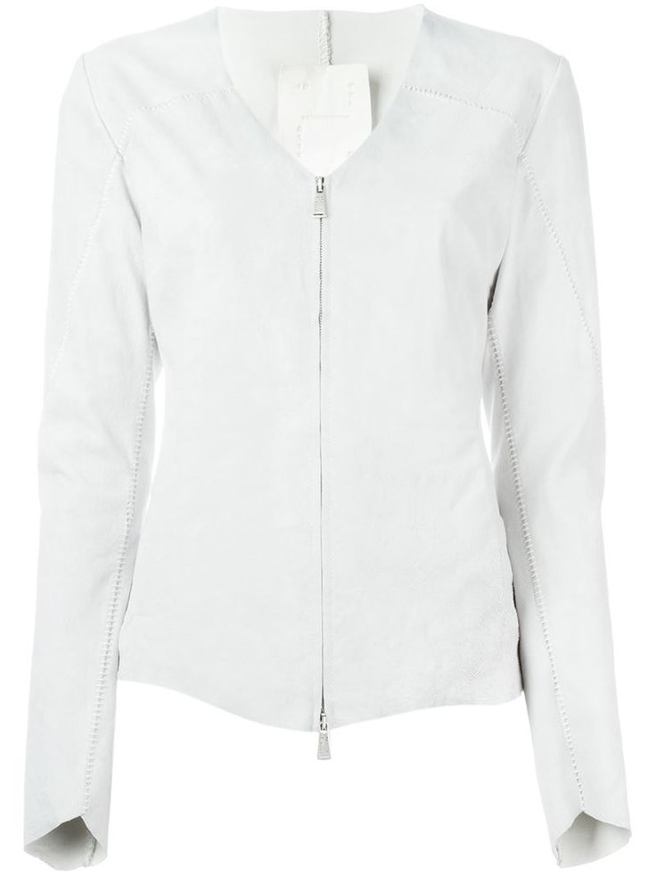 ¡Cómpralo ya!. 10Sei0otto - Fitted Zip Jacket - Women - Cotton/Leather/Spandex/Elastane - S. White leather fitted zip jacket from 10Sei0otto. Size: S. Color: Nude/neutrals. Gender: Female. Material: Cotton/Leather/Spandex/Elastane. , chaquetadecuero, polipiel, biker, ante, antelina, chupa, decuero, leather, suede, suedette, fauxleather, chaquetadecuero, lederjacke, chaquetadecuero, vesteencuir, giaccaincuio, piel. Chaqueta de cuero  de mujer color beige de 10SEI0OTTO.