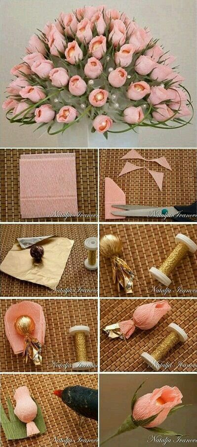 Closed rose bud paper flowers