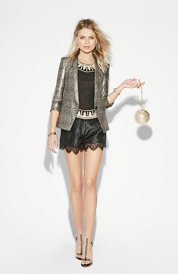Wardrobe pinterest holiday outfits sequin top and black gold