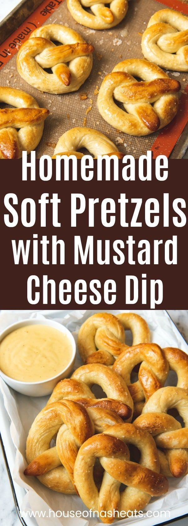 Homemade Soft Pretzels with Mustard Cheese Dip