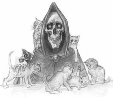 This is Death from Terry Pratchett's Discworld books. He and my Grandpa both loved cats. I bet they got along well when he came to get Grandpa.