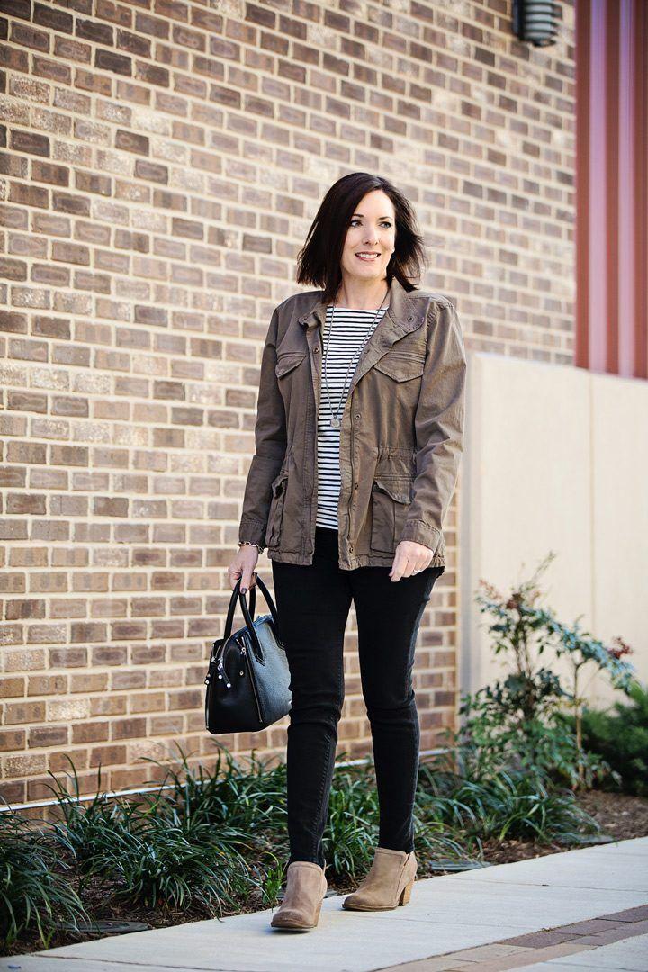 The Pendant. Black Stripes + Utility Jacket #FashionFriday