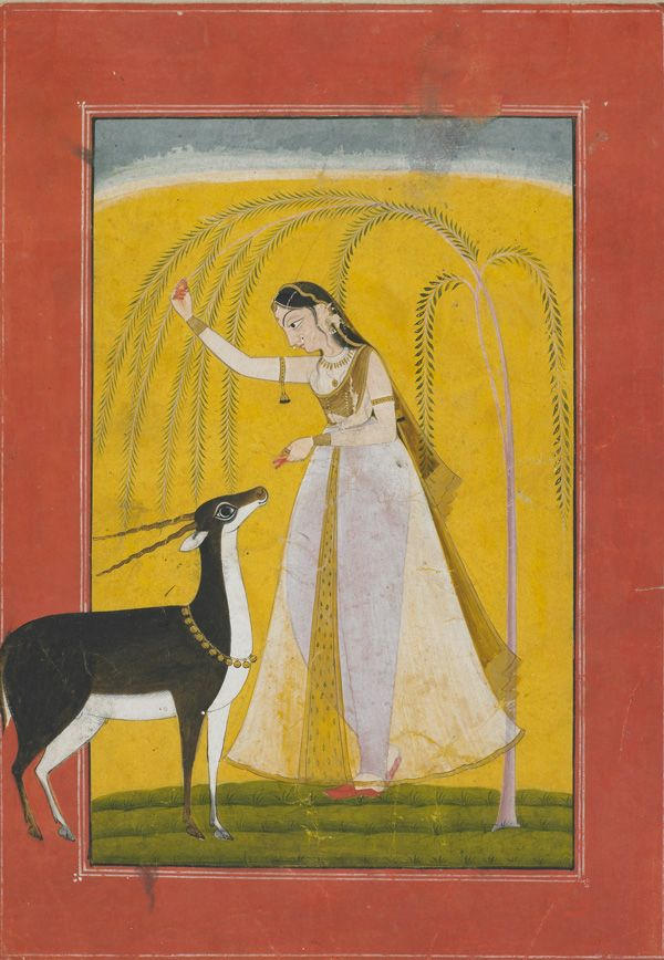 A Girl with a Pet Antelope   ca. 1750  Opaque watercolor on paper  Possibly Kulu, Punjab Hills, India
