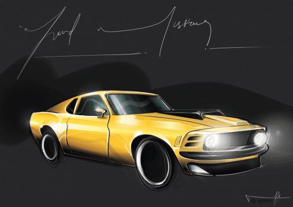 Mustang digital render by Natalia Tofas, via Behance