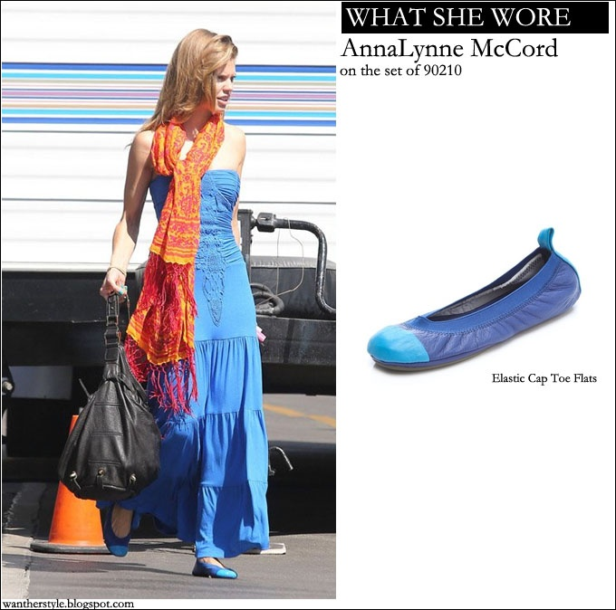 WHAT SHE WORE: AnnaLynne McCord on the set of 90210 season 6 in maxi blue dress and two tone blue ballet flats #fashion #90210