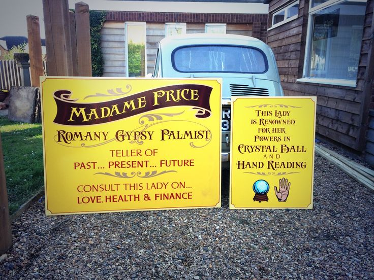 All hand painted sign for a gypsy fortune teller.