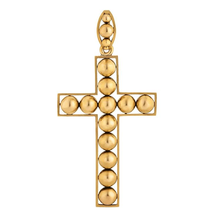 Victorian Handmade Gold Cross Pendant | From a unique collection of vintage drop necklaces at https://www.1stdibs.com/jewelry/necklaces/drop-necklaces/