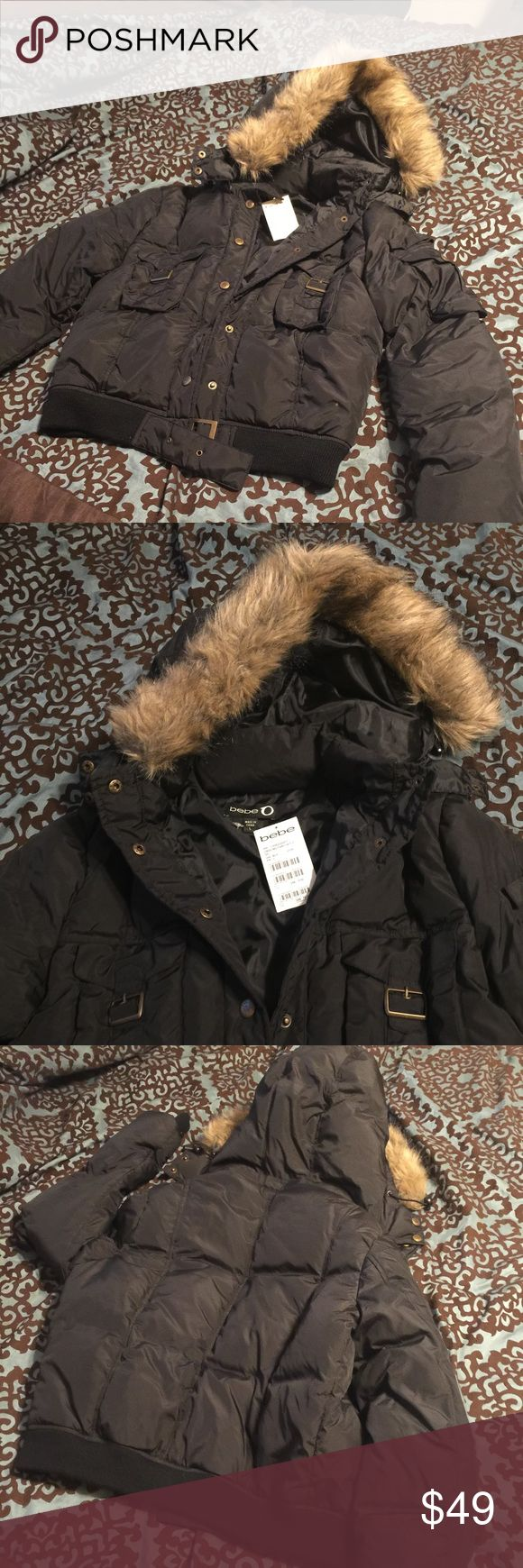 bebe cropped military/bomber jacket In new condition, with removable zippered hood.  UPDATE: sorry accidentally pulled tag off when trying it on to update picture modeling. I still have tag though. Fits me small so will definitely look way better on the right size person! bebe Jackets & Coats