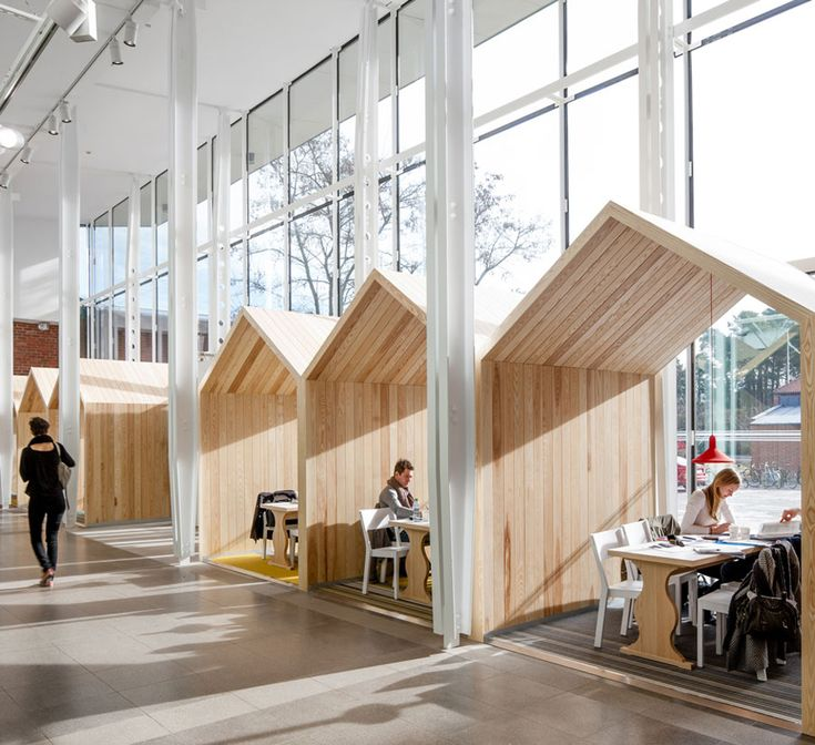 house-shaped objects in public spaces . love this idea for intimate reading spaces within a larger space