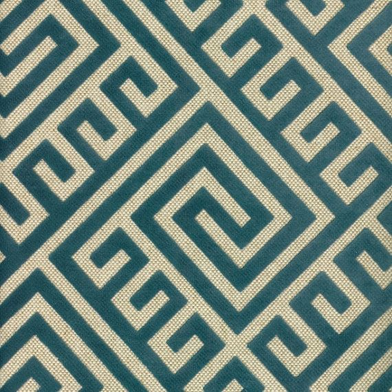 A Modern Heavyweight Upholstery Fabric In A Contemporary Greek Key Pattern  Of Teal And Ivory.