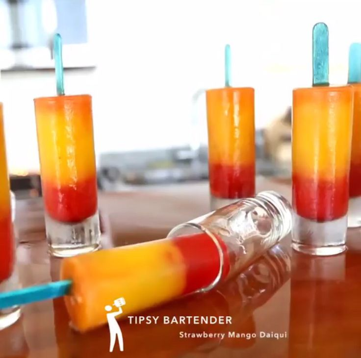 Strawberry Mango Daquiri Popsicles from the Tipsy Bartender - https://m.youtube.com/watch?v=VGXRDBUIHiI&feature=youtu.be