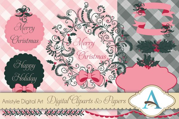 Check out Christmas Wreath Clipart and Paper S by Amistyle Digital Art on Creative Market