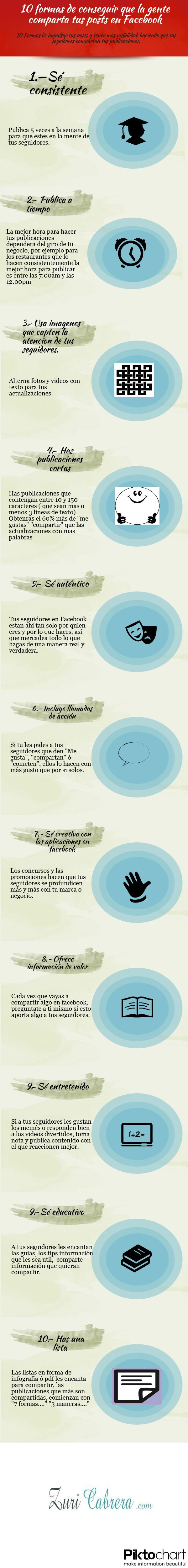 10 formas de que compartan tus posts de FaceBook #infografia