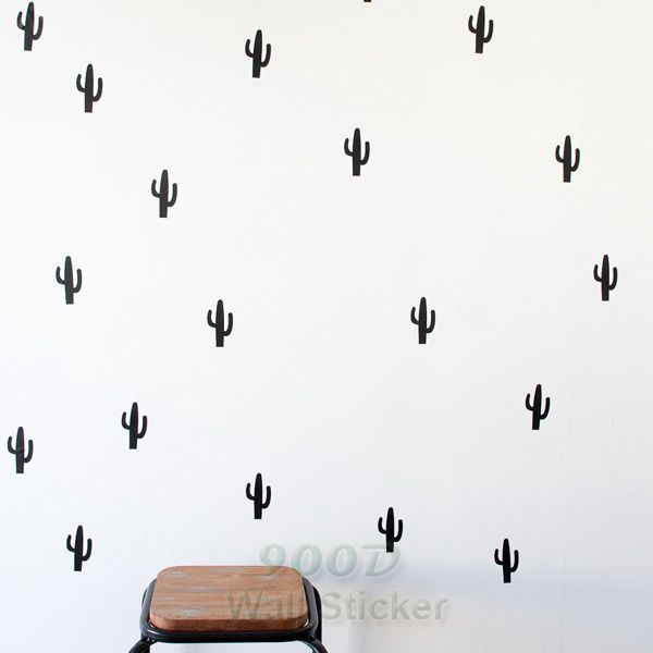 US $7.23 -- AliExpress.com Product - Cartoon Little Cactus Wall Sticker, Removable home decoration art Wall Decals Free Shipping 30 Cactus /pack