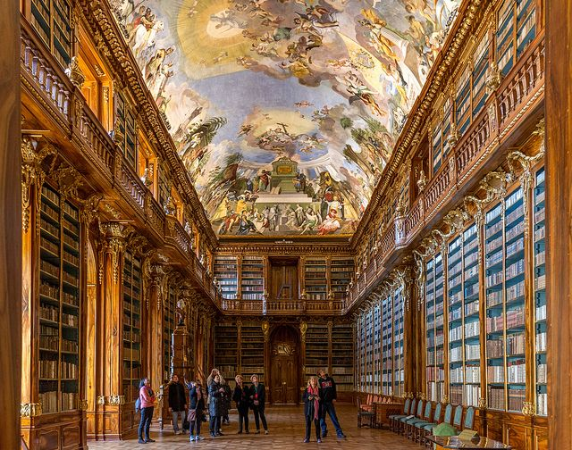 The Klementinum library in Prague is the largest and most historic complex of buildings in the Old Town. Since the Middle Ages many of Europe's great astronomers, scientists, philosophers and musicians have studied and worked here. Location: Prague, Czech Republic Year: 1232 Photography: tsomchat