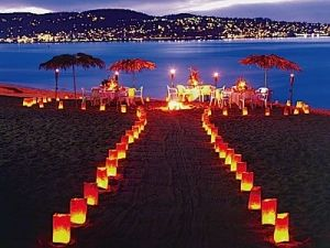 Night beach wedding by ajct