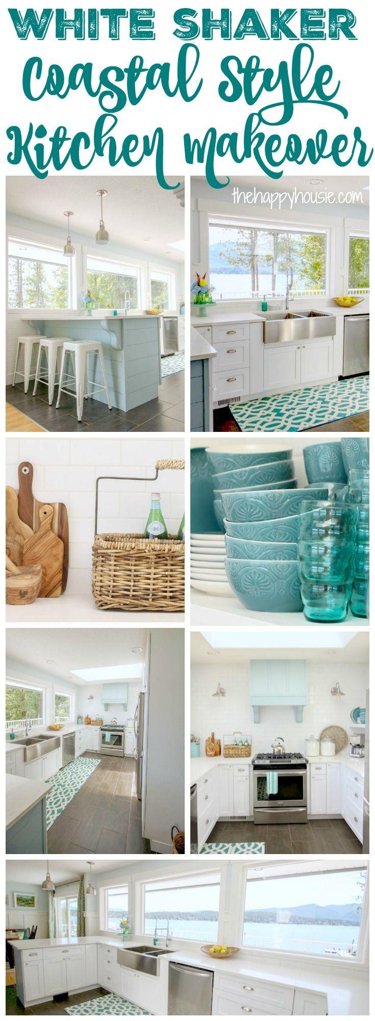 White Shaker Coastal Style Kitchen Makeover at thehappyhousie.com