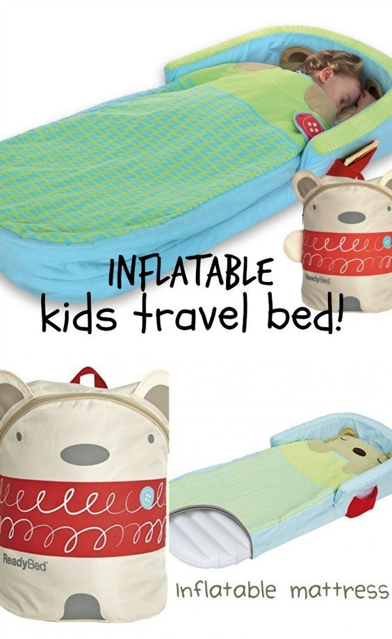 Inflatable kids travel bed ideas - Perfect for vacations, sleepovers, camping, hotel rooms, I really need one of these for each of my kids! With the guard around the head area, these can work well as toddler travel bed: