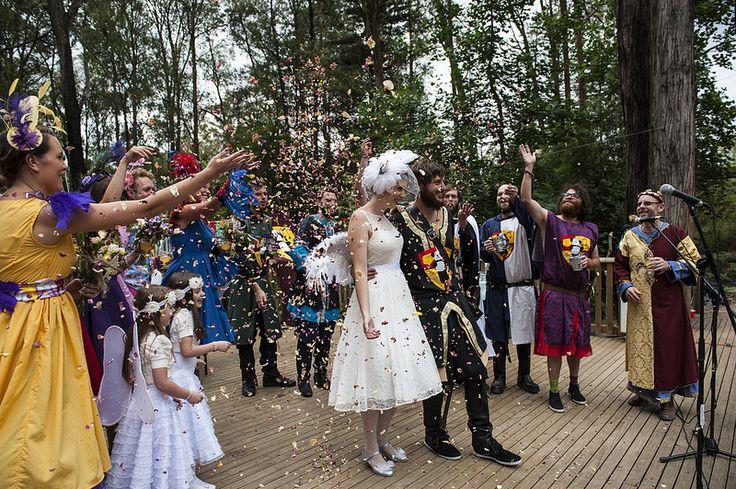 "Tamasin & Ben's dress-up camping ""BAMfest"" wedding"