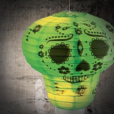 Halloween Green Light Up Skull Lantern