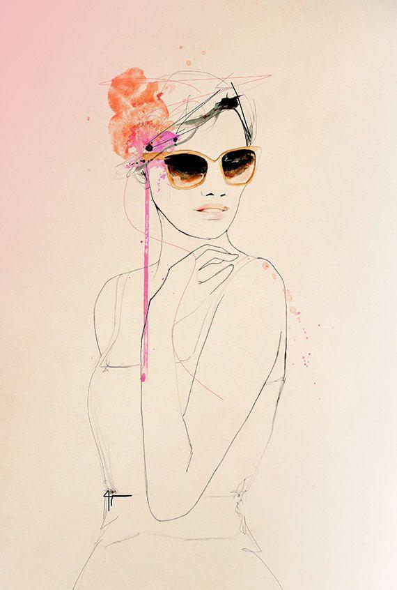 Coup d'oeil - Fashion Illustration Art Print, Portrait, Woman, Mix Media Painting by Leigh Viner