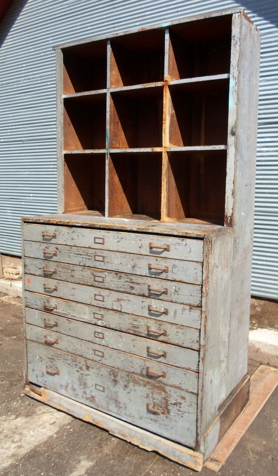 Vintage Farm Fresh Industrial 8 Drawer Hardware Store Cabinet, Apothecary Cabinet, Grey, Rustic  I purchased this at a farm estate sale in