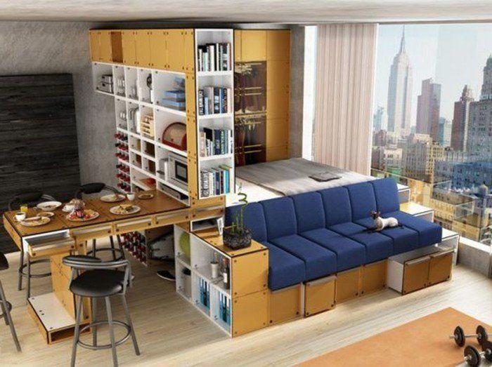 разработать небольшой зал с экономией пространства мебели