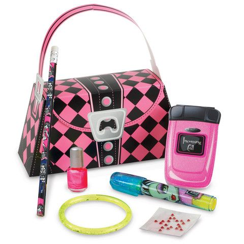 Monster High Party Favor Purse Includes pink and black argyle favor purse, glitter bracelet, cell phone notepad, body crystals, lipstick eraser*, nail polish* and a pencil*. *These are officially lice