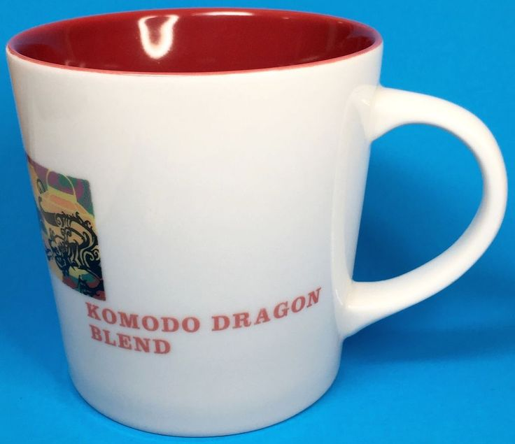 Starbucks Coffee Mug Cup Komodo Dragon Blend Asia Pacific Map Red Inside #Starbucks
