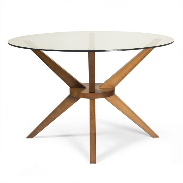 Bianca Dining Table In Walnut Glass In 2020 Glass Round Dining