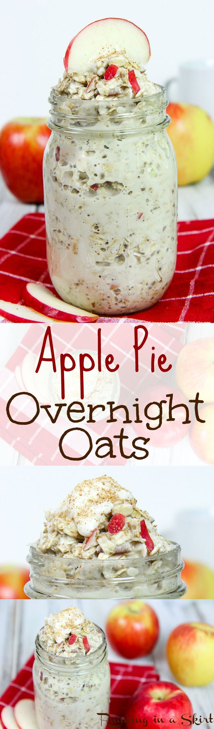 Healthy & Clean Apple Pie Overnight Oats recipe- with chia seeds! A perfect breakfast to start your mornings right. Vegetarian & vegan healthy oatmeal recipes. / Running in a Skirt