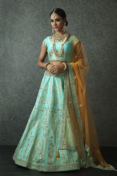 Sangeet Lehengas - Sea Blue Lehenga with Gotta Patti work and Yellow Net Dupatta with a Gold Neckalce | WedMeGood  #bridal #lehengas #indianwedding #indianbride #aquamarine #yellow #sangeet