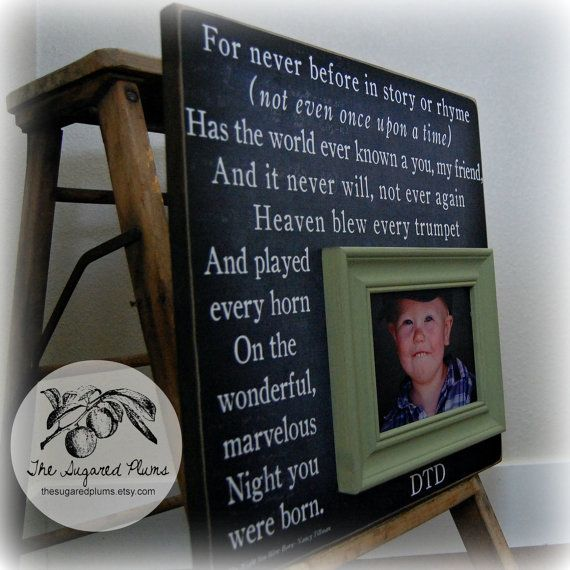 Baby Boy Blue Baby Picture Frames Baby Gift 16x16 ON THE NIGHT You Were Born Christening First Birthday Gift New Baby Winnie the Pooh on Etsy, $75.00