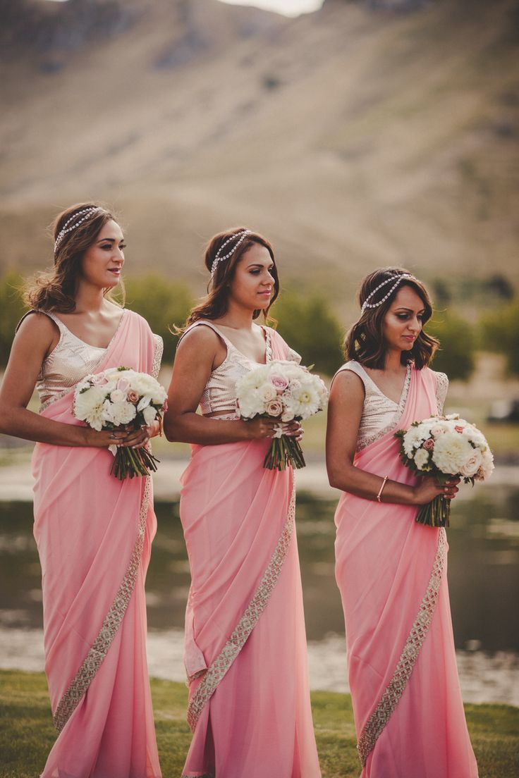 indian inspired bridesmaids - salmon pink