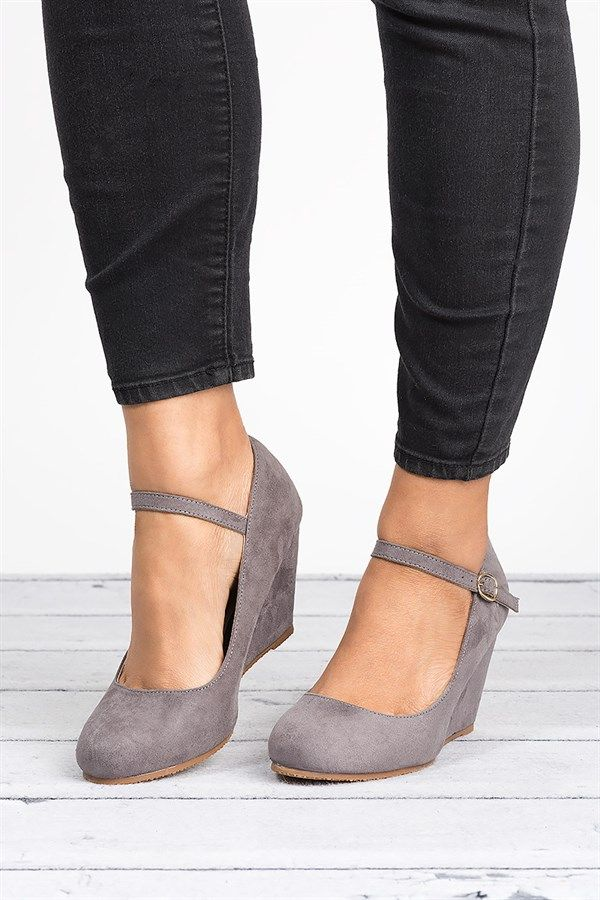 Faux Suede Wedge Pumps