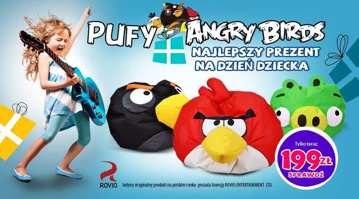 Puf #Angry #Birds to nie tylko maskotka, ulubiona postać z gry, to wyjątkowy #fotel  - #puf.  Niezastąpiony  towarzysz #zabaw dla dzieci i dorosłych inspirowany grą którą każdy dobrze zna.   Dostępne obecnie wzory MINION PIG, #BLACK BIRD-BOMB, RED BIRD.