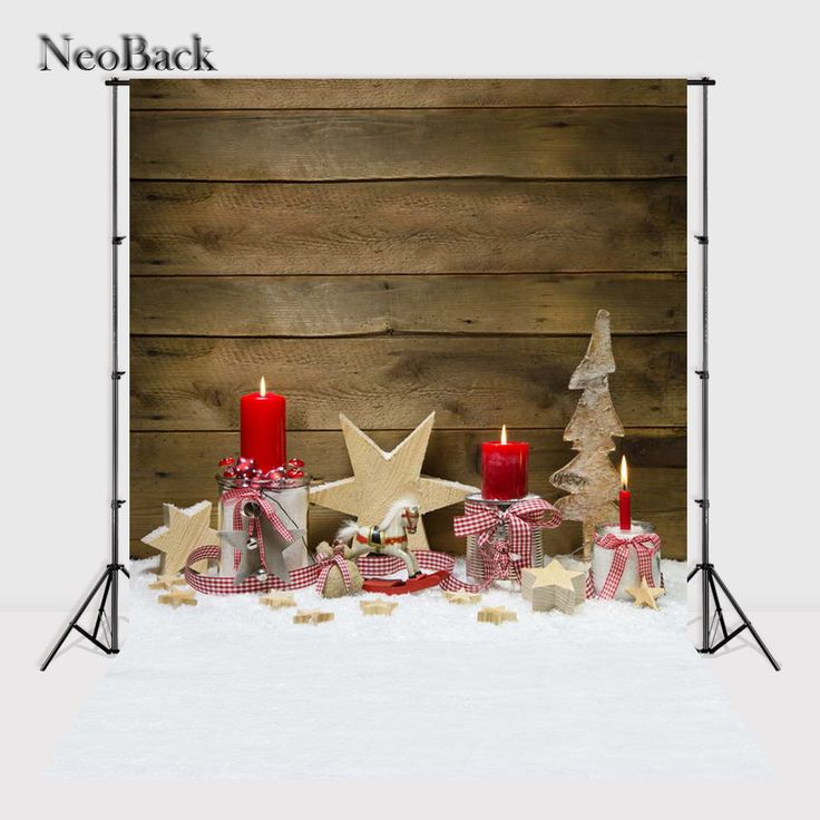 NeoBack  Vinyl  Printed New Born Baby Photography Backdrop Christmas candle wood snow children Background Photo studio A1068