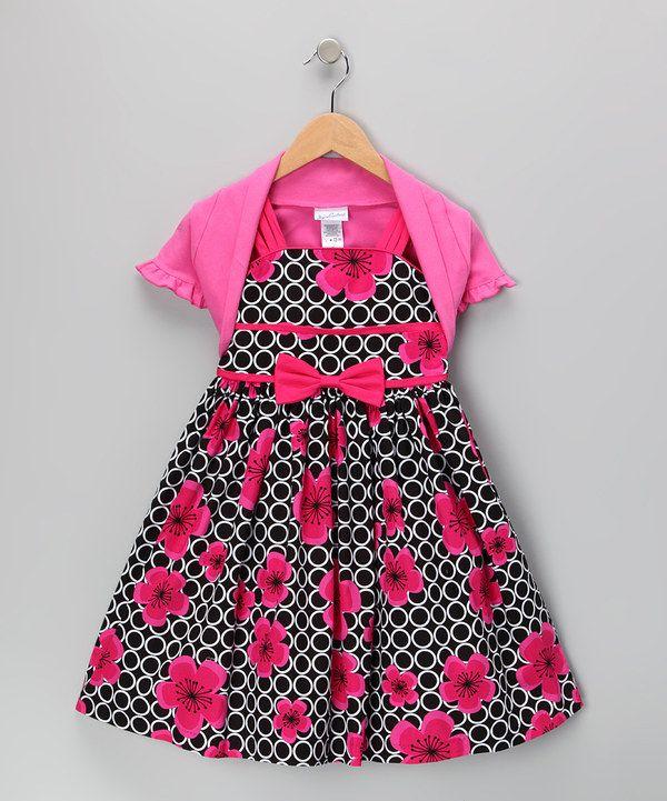 Another great find on #zulily! Jayne Copeland Pink & Black Rose Dress & Shrug - Toddler & Girls by Jayne Copeland #zulilyfinds