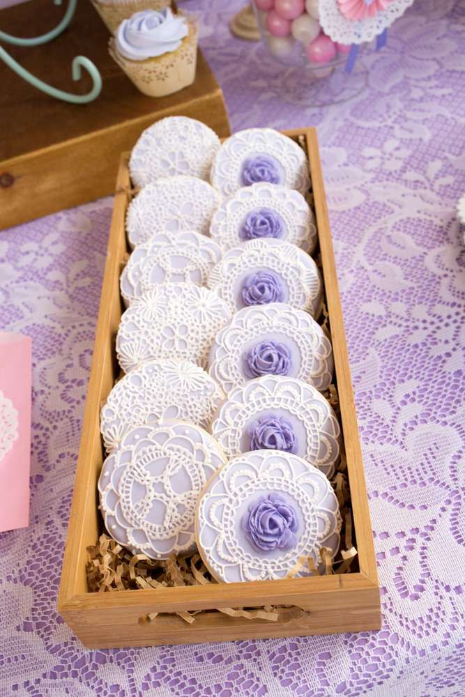 Gorgeous cookies at a shabby chic butterfly birthday party! See more party planning ideas at CatchMyParty.com!