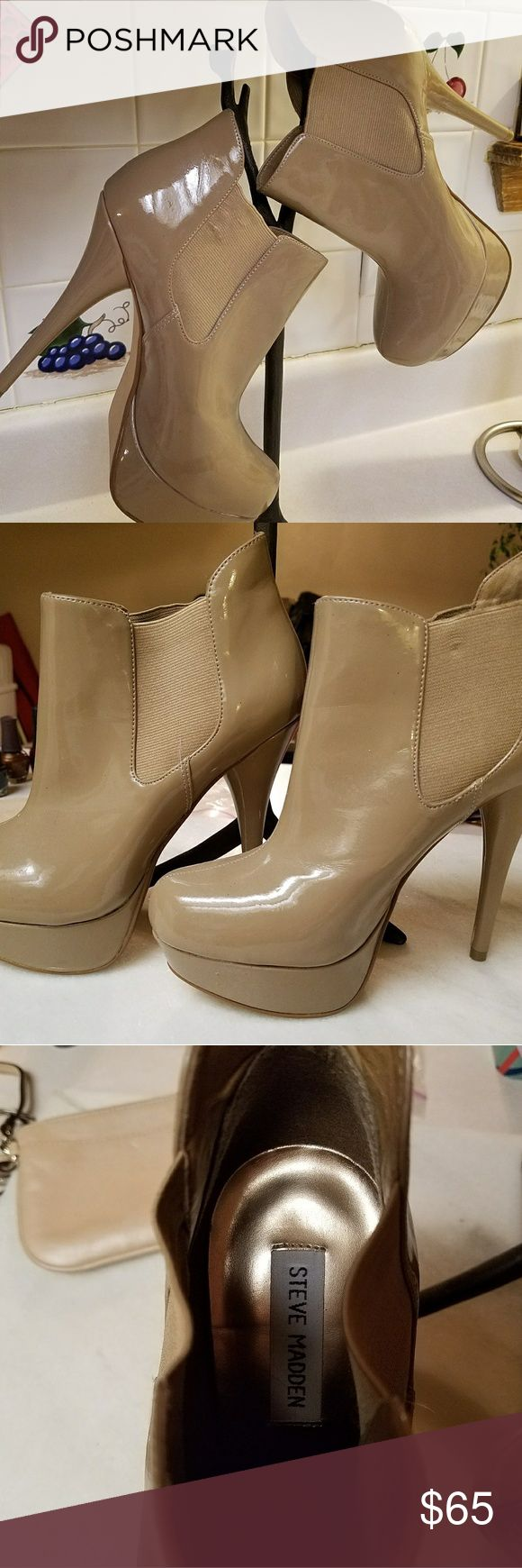 Steve Madden P-Raven High Heels Almost New P-Raven Tan Steve Madden Size 7 or 7.5. 1.5 inch Platform with 5 inch Heel. Steve Madden Shoes Platforms