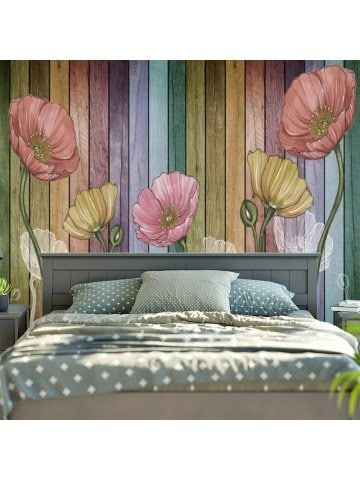 Flower and Wood Board Wall Hanging