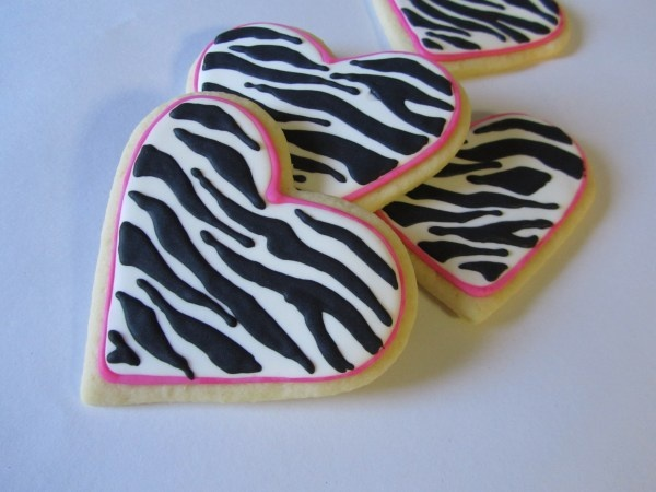 Zebra striped cookie decorations described how to do it yourself... sugar cookie recipe can be clicked on on link also