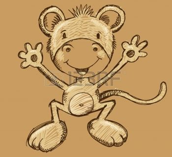 Singe Ape Sketch Doodle Vector Illustration Art photo