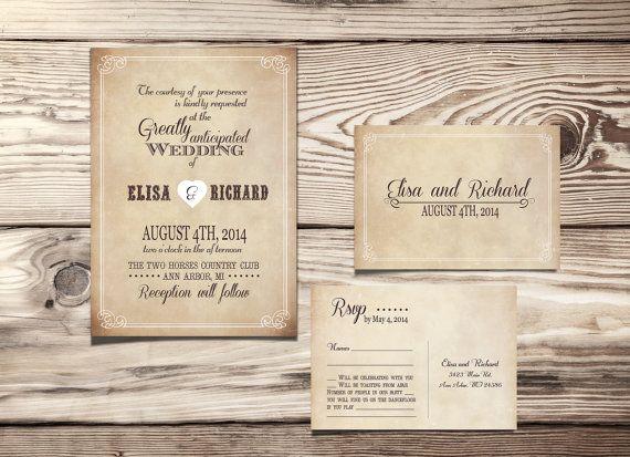 Free Rustic Wedding Invitation Templates: PRINTABLE WEDDING INVITATION Rustic Country Vintage Suite