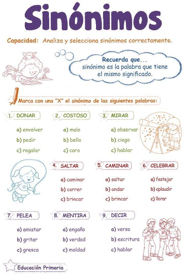 Sinónimos para niños 2º | Razonamiento Verbal