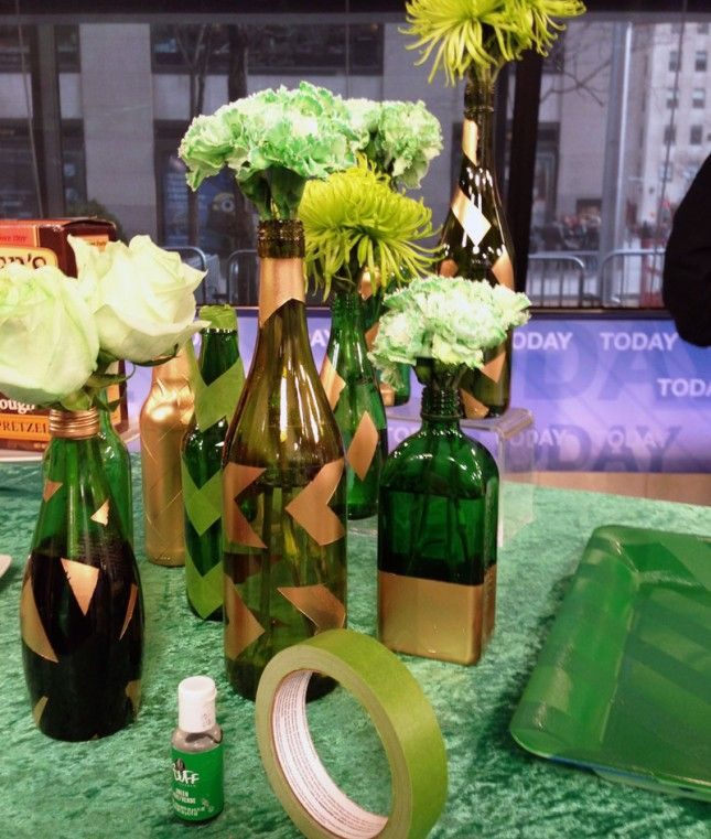 Booze vases to decorate for St. Patrick's Day party!