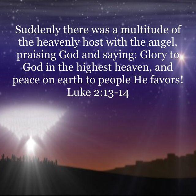 Luke 2 13 14 Praise God Peace On Earth