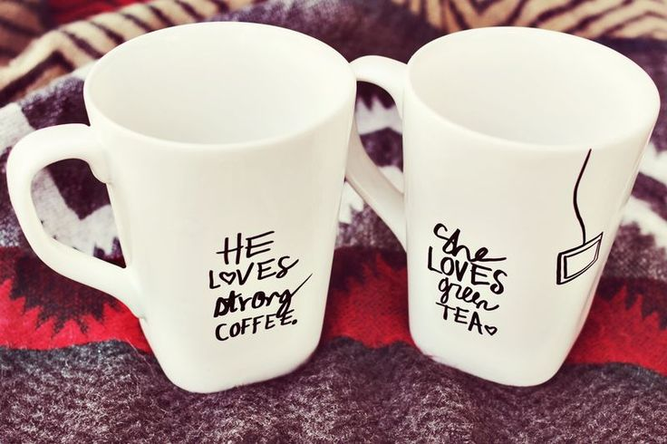DIY His + Her Sharpie Mug - Super cute for couples - a snap for a last minute gift or housewarming gift