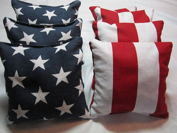 Cornhole Bags Stars and Stripe corn hole bags by SunlightCreations